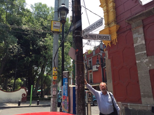 A corner of memory: Chavez lived on Tres Cruces in Coyoacan.