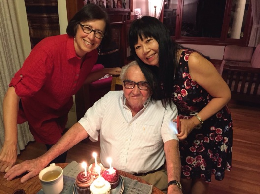 Jan and Joan wishing Bill a Happy Birthday in our Pasadena home.