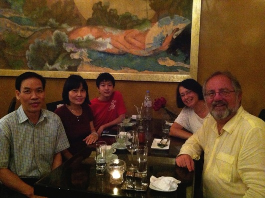 We're with Dr. Minh Anh and his wife with their son, composer MInh Nhat. at Hanoi Hanoi in 2013.