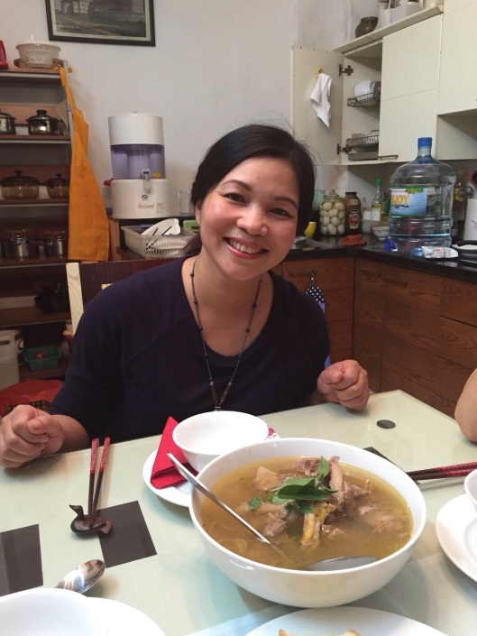 Our great teacher, Tran Thu Thuy with her splendid duck soup.