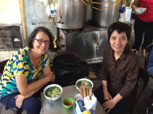 Jan and Kimngoc at our welcoming lunch to Hanoi with a delicous beef soup.