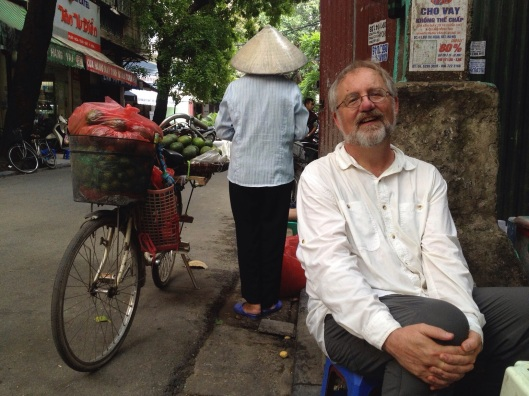 Relaxing in Hanoi's Old Quarter.