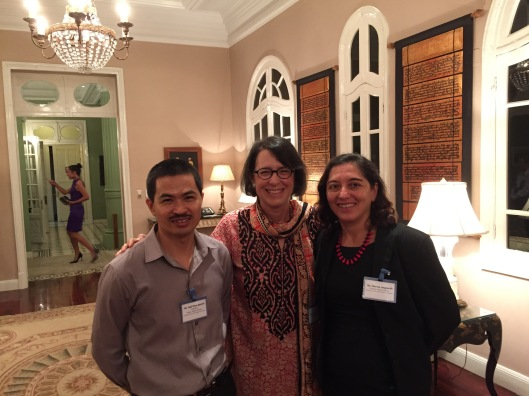 Jan with Embassy staff Quynh Ngo and Marcia Anglarill.