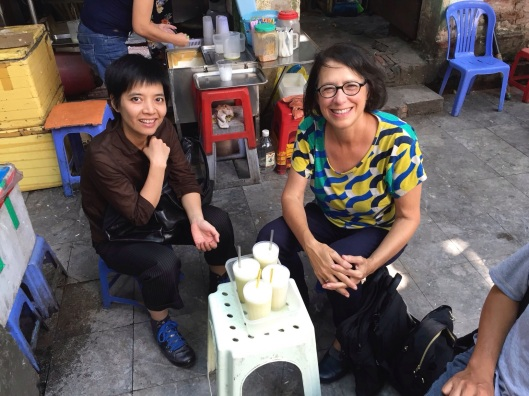 Kim and Jan enjoying a refreshing sugar cane juice.
