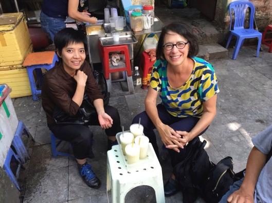 Kim and Jan enjoying a refreshing sugar cane juice.