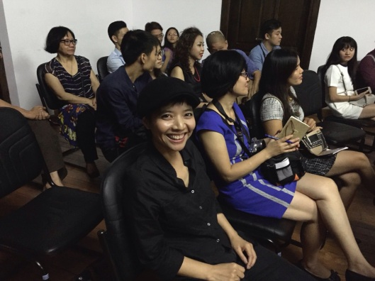 A radiant smile from Kimngoc Tran after hearing the Hanoi New Music Ensemble.