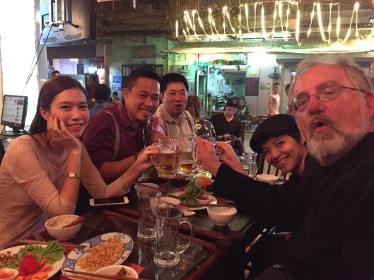 Beer toasting Vietnamese style!