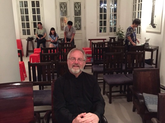 Relaxing before a performance at the Manzi Art Space in Hanoi.