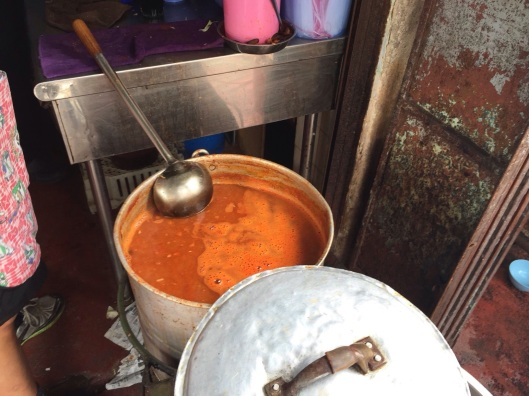A stockpot of asam laksa at Jo Hooi Cafe.