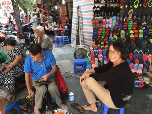 Jan at her shoe repairman, Old Quarter style.
