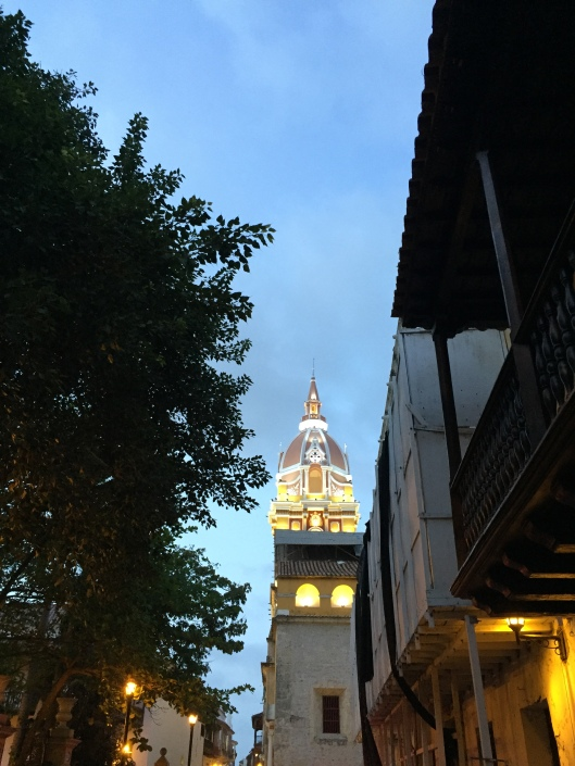 A twilight view of Cartagena's Cathedral.