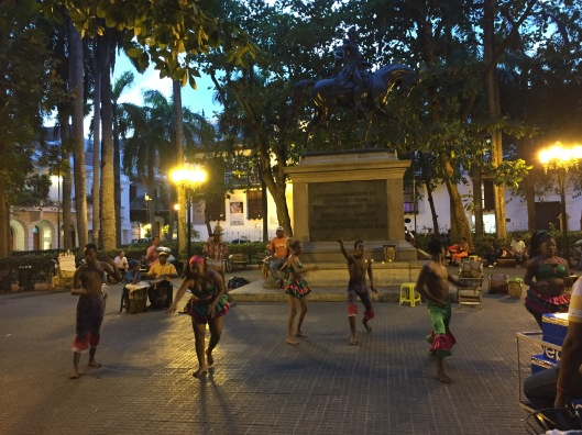 An Afro-Caribbean dance performance in the Plaza of the Cathedral.