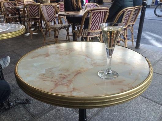 A glass of Lillet on Rue du Buci in St. Germain.