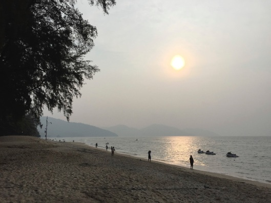 A sunset over the Andaman Sea on Penang Island in Malaysia.