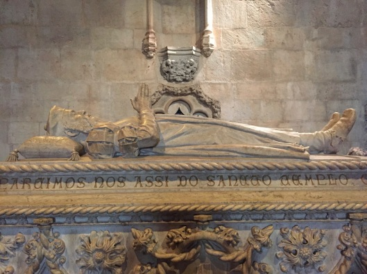 The tomb of Vasco da Gama at St. Jeronimos Monastery in Lisbon.