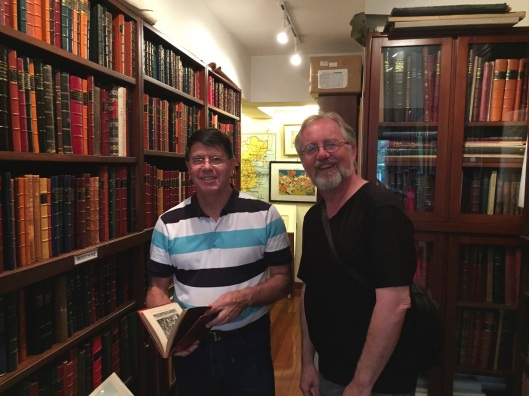 In Hong Kong's best rare book store doing research with historian Yves Azaimar.