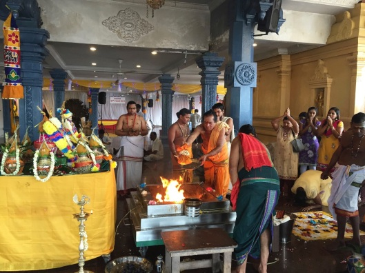 Purifying fire for the puja.