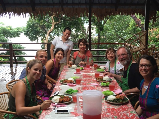 With new friends after cooking our lunch at the Tropical Spice Garden.
