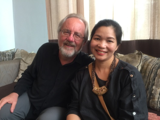 With Tran Thu Thủy, my Vietnamese tutor, upon arriving in Hanoi.