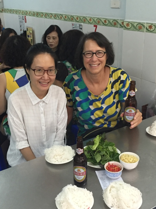 Bông Hoa and Jan with the fresh white noodles.