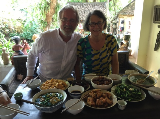 A lunch of a life term with friends on the porch in Bac Ninh.