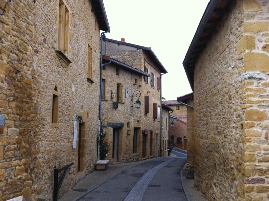 A street in Beaujolais, France with exquisite stone work.