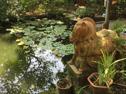 A common feng shui garden pond with a loyal horse.
