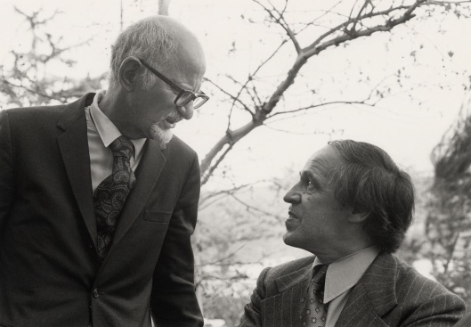 Leonard Stein and Pierre Boulez at the opening of the Schoenberg Institute.