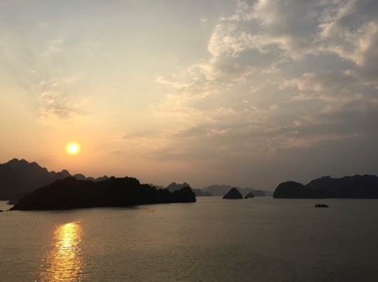 Sunset on Ha Long Bay.