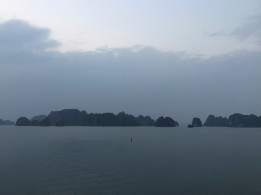 Darkness falling on Ha Long Bay.
