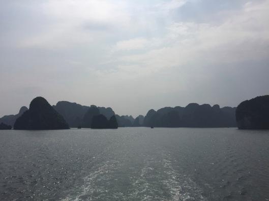 Looking back at Ha Long Bay.