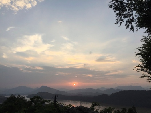 And sunset to the right, over the Mekong River.