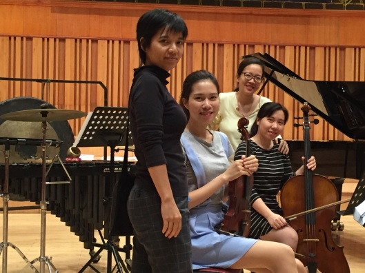 Composer Tran Kim Ngoc, violinist Vu Khanh Linh, cellist Giang Duong and pianist Tam Ngoc Tran, new music Truong Sisters.