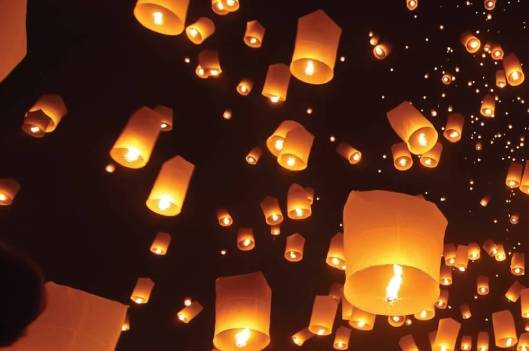 Lanterns floating into heaven during the Festival of Lights.