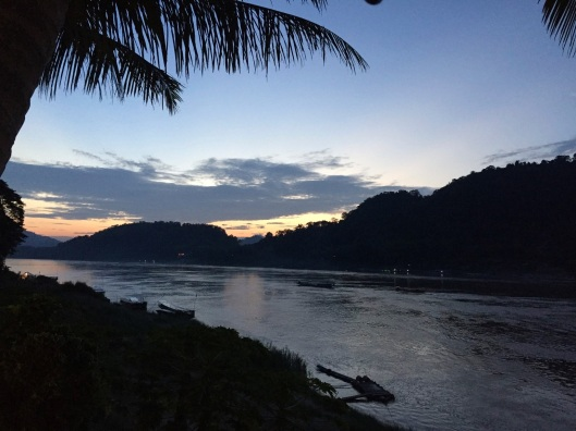 Twilight on the Mekong in Luang Prabang.